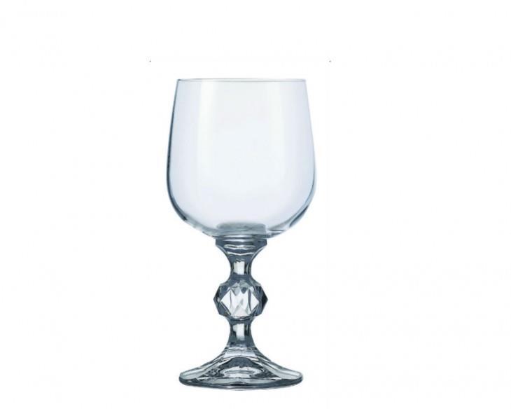 S/6 Ποτήρι κρασιού με πόδι Klaudie κρυστάλλινο διάφανο 190ml Bohemia