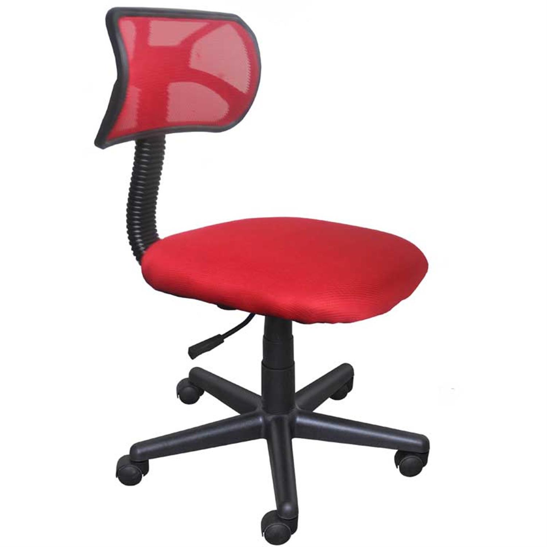 Καρέκλα γραφείου εργασίας με πλάτη, αμορτισέρ και υφασμάτινη επένδυση κόκκινη 42x40x74/84cm Home Plus 01.01.0559