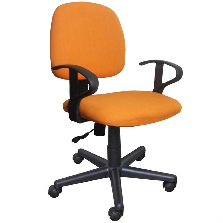 Καρέκλα γραφείου εργασίας με μπράτσα, αμορτισέρ και υφασμάτινη επένδυση πορτοκαλί 50x44x84/94cm Home Plus 01.01.0567