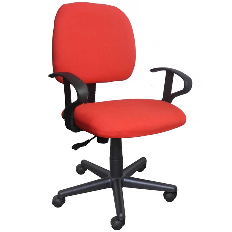 Καρέκλα γραφείου εργασίας με μπράτσα, αμορτισέρ και υφασμάτινη επένδυση κόκκινη 50x44x84/94cm Home Plus 01.01.0568