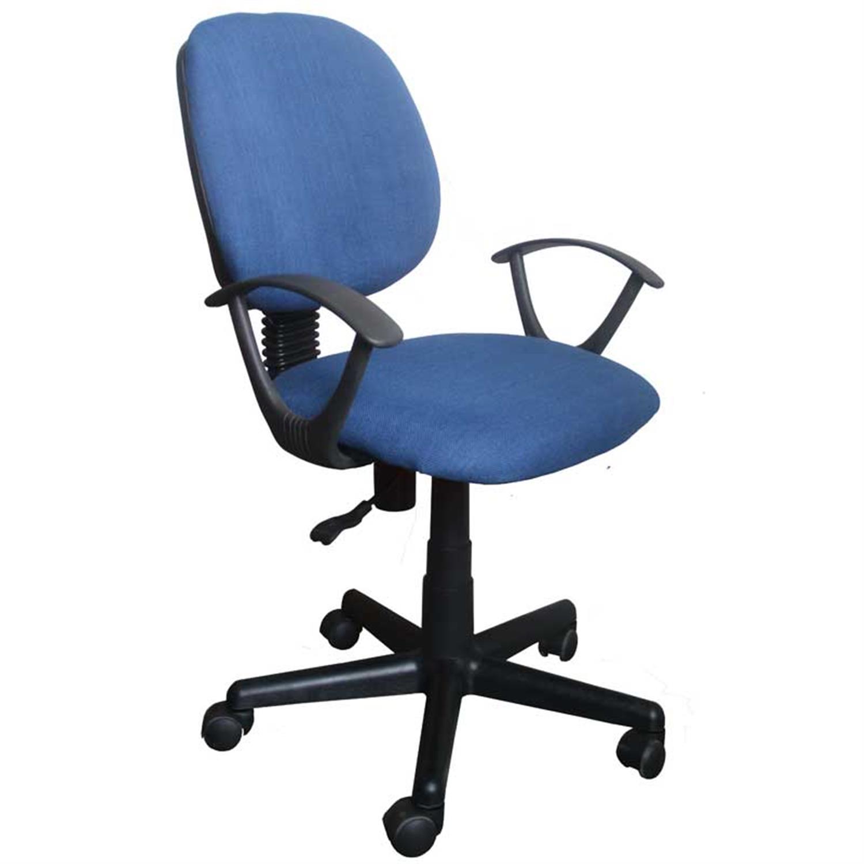 Καρέκλα γραφείου εργασίας με μπράτσα, αμορτισέρ, ανατομική πλάτη και υφασμάτινη επένδυση μπλε 50x46x83/93cm Home Plus 01.01.0570