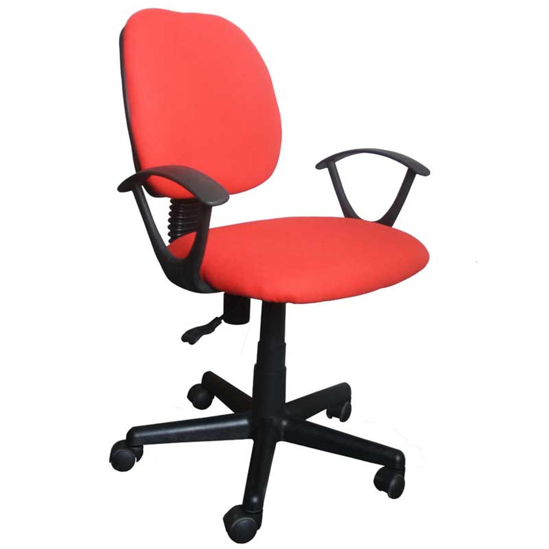 Καρέκλα γραφείου εργασίας με μπράτσα, αμορτισέρ, ανατομική πλάτη και υφασμάτινη επένδυση κόκκινη 50x46x83/93cm Home Plus 01.01.0