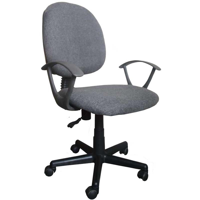 Καρέκλα γραφείου εργασίας με μπράτσα, αμορτισέρ, ανατομική πλάτη και υφασμάτινη επένδυση γκρι 50x46x83/93cm Home Plus 01.01.0572