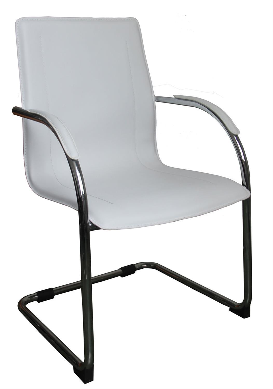 Καρέκλα γραφείου επισκέπτη νίκελ/pvc λευκή 56x69x92cm Home Plus 01.01.0576