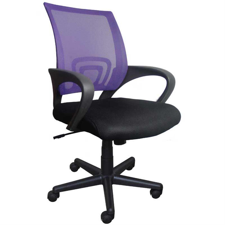 Καρέκλα γραφείου εργασίας με μπράτσα, αμορτισέρ, ανατομική πλάτη μωβ και υφασμάτινη επένδυση μαύρη 47x50x86/96cm Home Plus 01.01