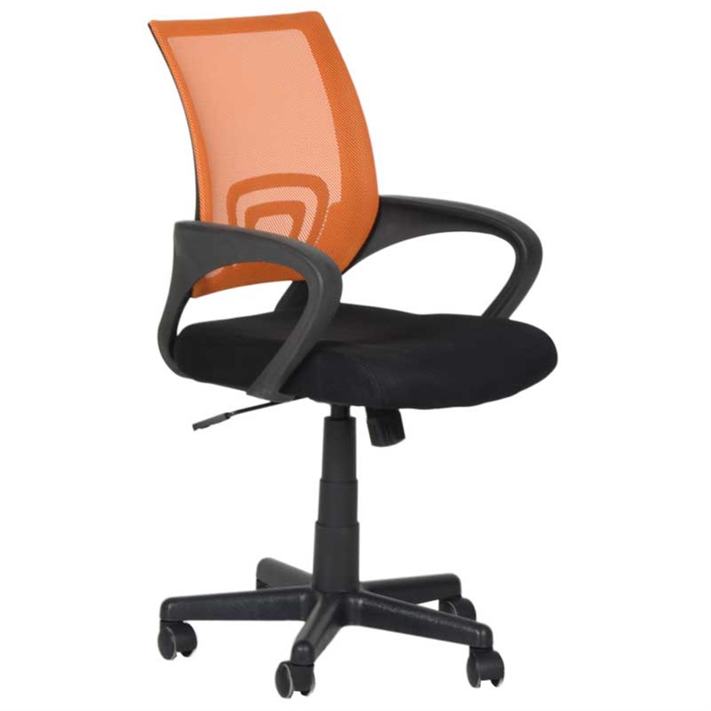 Καρέκλα γραφείου εργασίας με μπράτσα, αμορτισέρ, ανατομική πλάτη πορτοκαλί και υφασμάτινη επένδυση μαύρη 47x50x86/96cm Home Plus