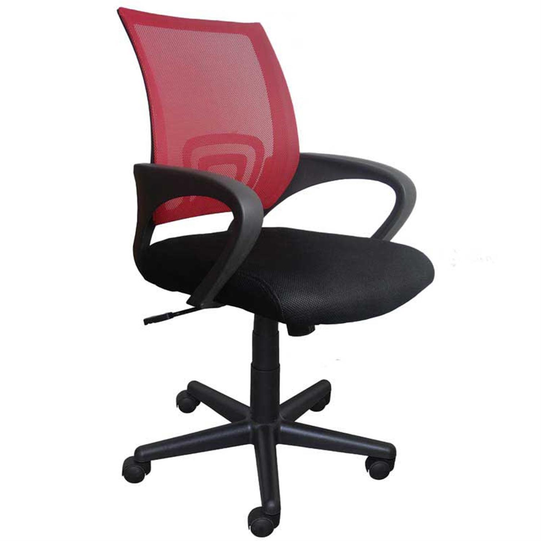 Καρέκλα γραφείου εργασίας με μπράτσα, αμορτισέρ, ανατομική πλάτη κόκκινο και υφασμάτινη επένδυση μαύρη 47x50x86/96cm Home Plus 0