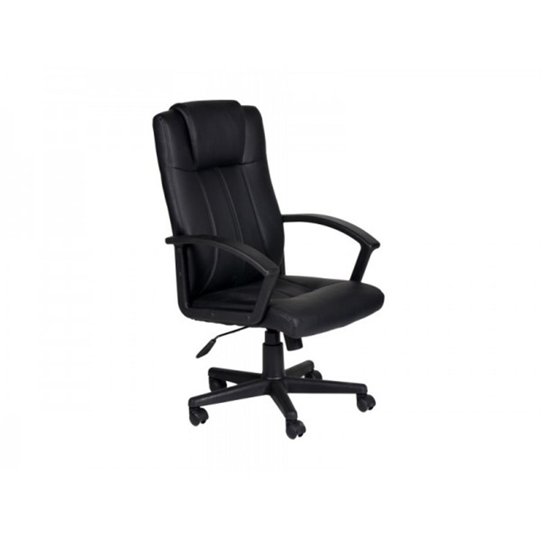 Πολυθρόνα γραφείου Manager με μπράτσα, αμορτισέρ, ψηλή πλάτη, μηχανισμό relax και υφασμάτινη επένδυση pu μαύρη 53x50x103/112cm H