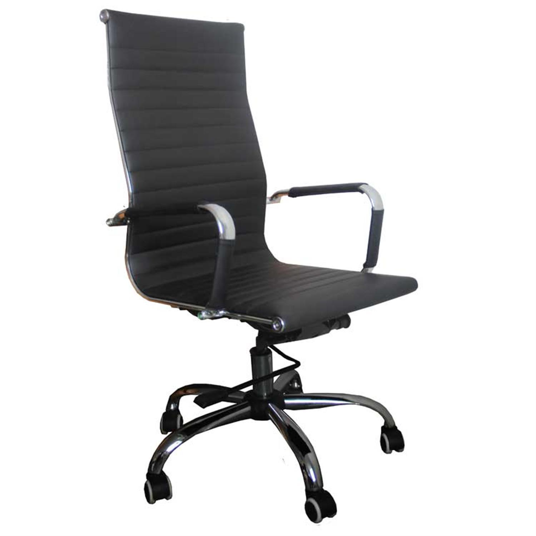 Πολυθρόνα γραφείου Manager με μπράτσα, αμορτισέρ, ψηλή πλάτη, μηχανισμό relax, μεταλλική βάση και υφασμάτινη επένδυση pu μαύρη 4