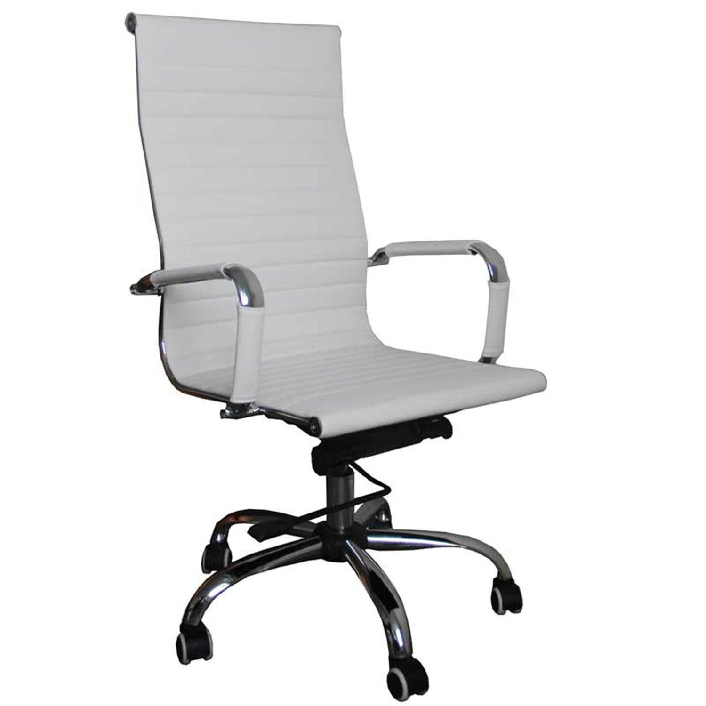 Πολυθρόνα γραφείου Manager με μπράτσα, αμορτισέρ, ψηλή πλάτη, μηχανισμό relax, μεταλλική βάση και υφασμάτινη επένδυση pu λευκή 4