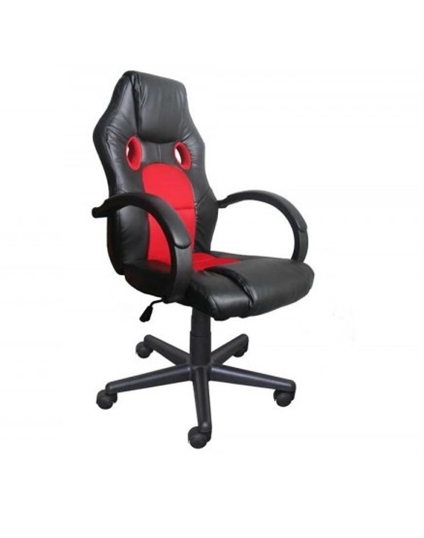 Πολυθρόνα γραφείου διευθυντή Bucket με μπράτσα, αμορτισέρ, ψηλή πλάτη, μηχανισμό relax και υφασμάτινη επένδυση pu μαύρη/κόκκινη