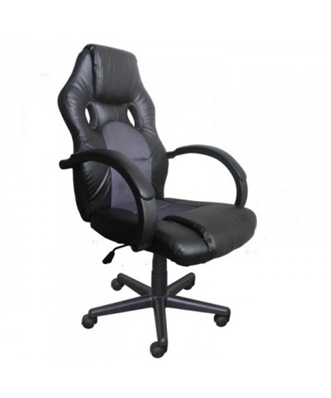 Πολυθρόνα γραφείου διευθυντή Bucket με μπράτσα, αμορτισέρ, ψηλή πλάτη, μηχανισμό relax και υφασμάτινη επένδυση pu μαύρη/γκρι 62x