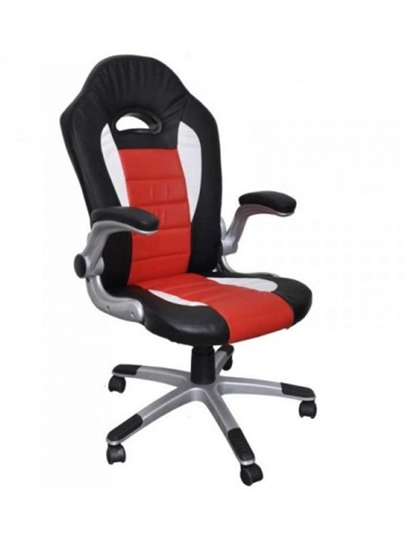 Πολυθρόνα γραφείου Bucket με μπράτσα, αμορτισέρ, ψηλή πλάτη, μηχανισμό relax και υφασμάτινη επένδυση pu μαύρη/κόκκινη/λευκή 63×7