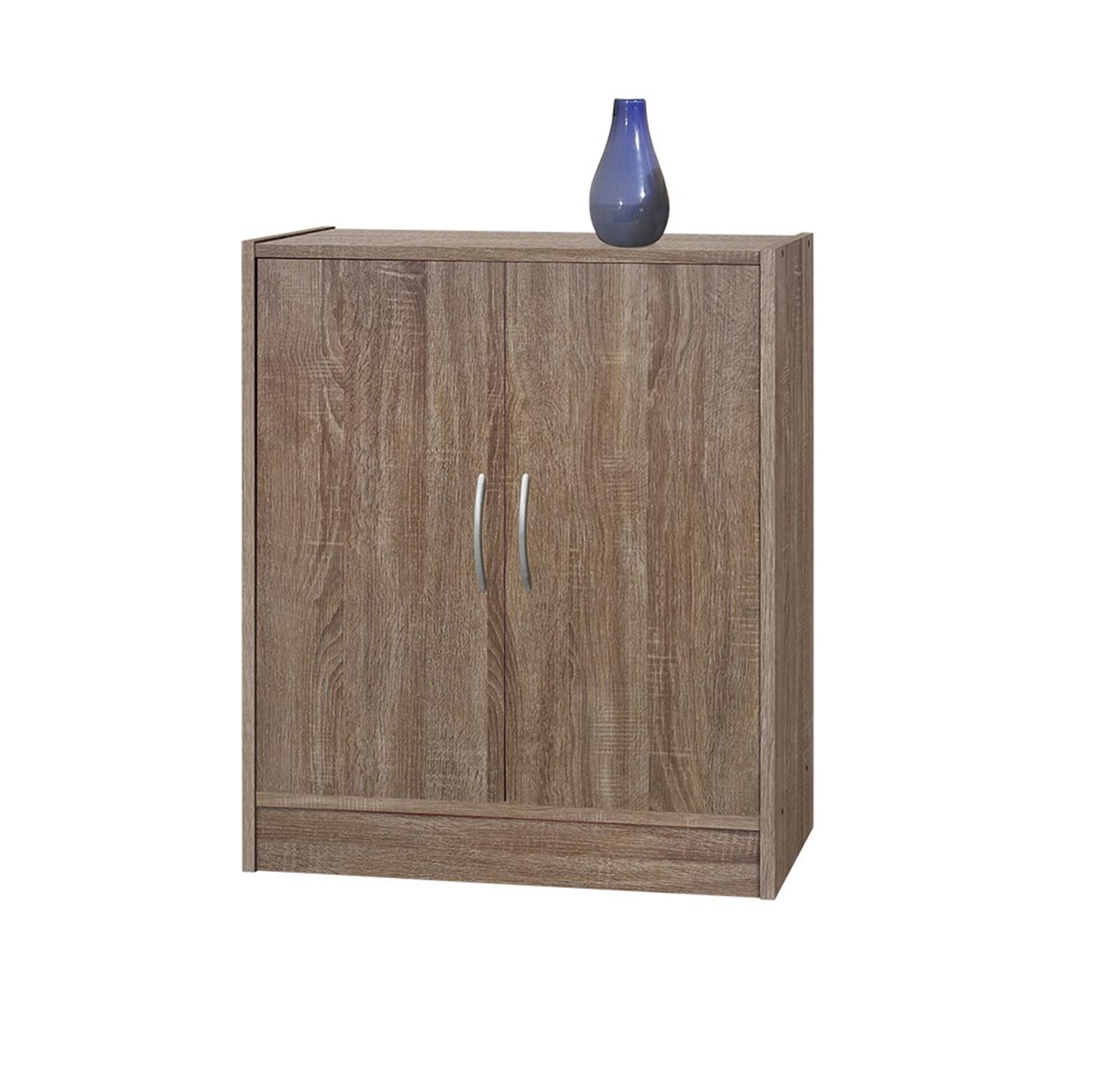 Βοηθητικό ντουλάπι με 2 ράφια και 2 πόρτες μελαμίνης γκρι δεσποτάκι 63x37x82cm Home Plus 01.01.0686