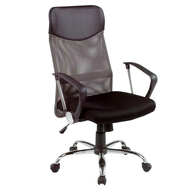 Πολυθρόνα γραφείου Manager με μπράτσα, αμορτισέρ, ψηλή πλάτη, μεταλλική βάση, δίχτυ και υφασμάτινη επένδυση μαύρη 63x63x110/120c