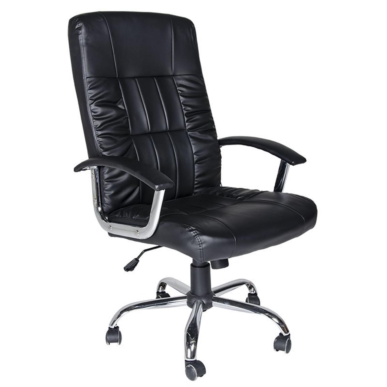 Πολυθρόνα γραφείου Manager με μπράτσα, αμορτισέρ, ψηλή πλάτη, μεταλλική βάση και υφασμάτινη επένδυση pu μαύρη 63x70x114/124cm Ho
