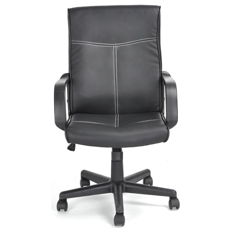 Πολυθρόνα γραφείου Manager με μπράτσα, αμορτισέρ, ψηλή πλάτη και υφασμάτινη επένδυση μαύρη 60x60x95/107cm Home Plus 01.01.0813