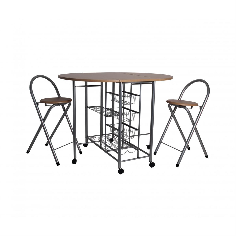 S/3 Τραπεζαρία κουζίνας Smart Set πτυσσόμενο μεταλλικό/ξύλινο mdf ασημί/natural 110x80x80cm Home Plus 01.01.0847