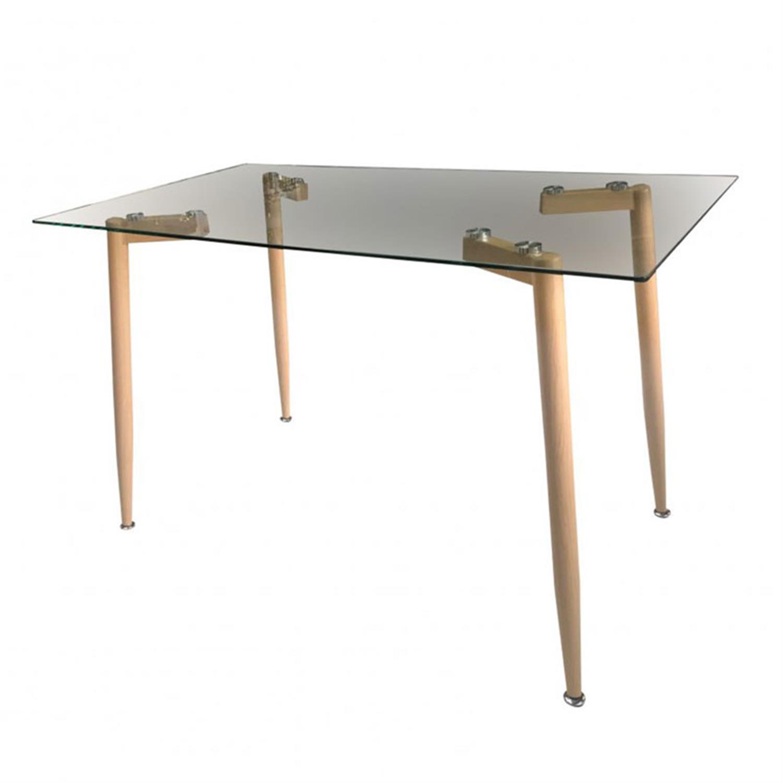 Τραπέζι Alonso μεταλλικό/γυάλινο natural 120x70x75cm Home Plus 01.01.0887