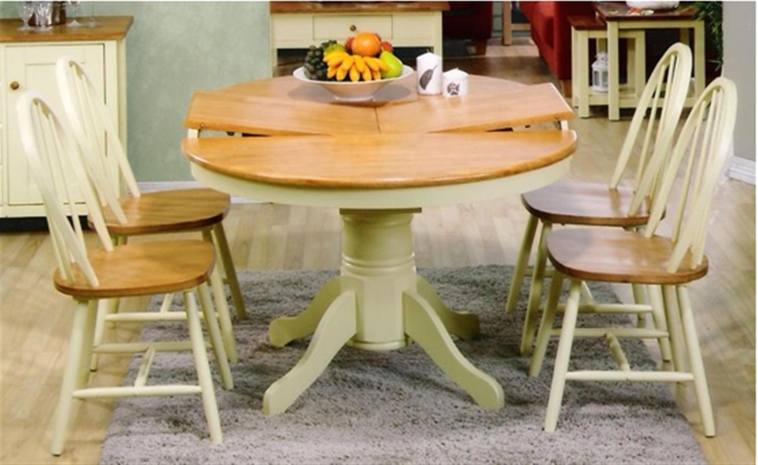 S/5 Τραπέζι/Ροτόντα Kentucky ανοιγόμενο με 4 καρέκλες Boston ξύλινο decape κρεμ/καφέ 107(150)x107x76cm Home Plus 02.01.0010-1