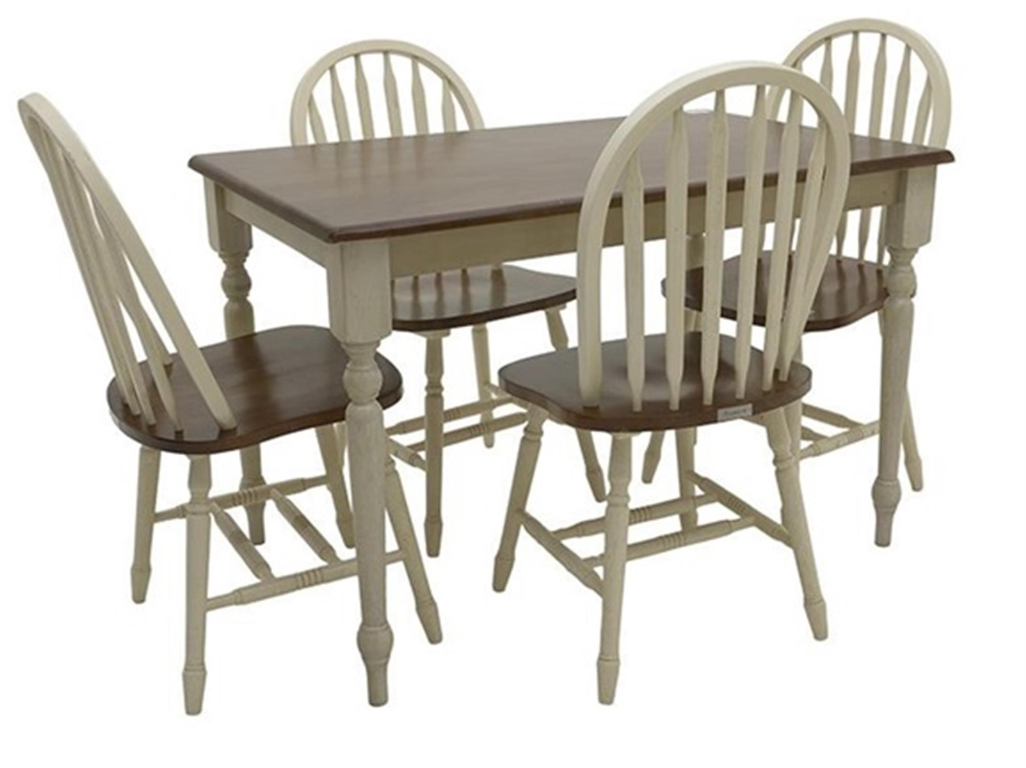 S/5 Τραπέζι Oslo με 4 καρέκλες Boston ξύλινο decape κρεμ/καφέ 114x74x75cm Home Plus 02.01.0078-1