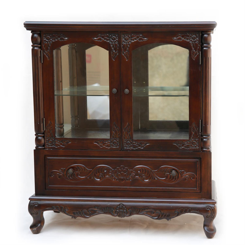 Βιτρίνα δίφυλλη με 2 ράφια και 1 συρτάρι ξύλινη σκούρο καρυδί 80x40x90cm Home Plus 01.01.0840