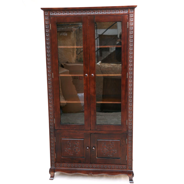 Βιτρίνα με 2 πόρτες και 4 ράφια ξύλινη σκούρο καρυδί 92x46x179cm Home Plus 01.01.0842