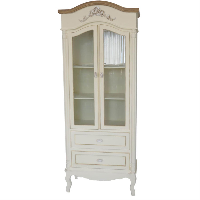 Βιτρίνα Antique cream με 3 ράφια και 2 συρτάρια ξύλινη κρεμ/καφέ 80x39x190cm Home Plus 01.01.0788