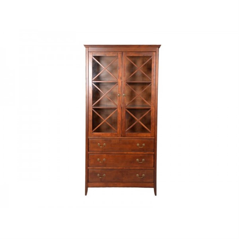 Βιτρίνα με 3 συρτάρια και 2 ράφια ξύλινη καρυδί 98x40x195cm Home Plus 01.01.0057
