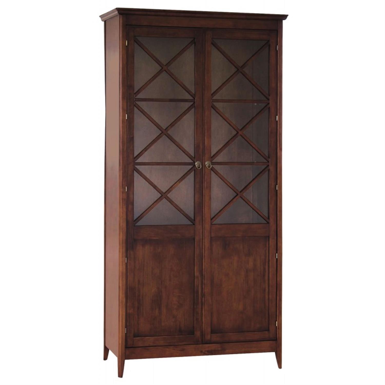 Βιτρίνα με 2 πόρτες και 4 ράφια ξύλινη καρυδί 98x40x195cm Home Plus 01.01.0058