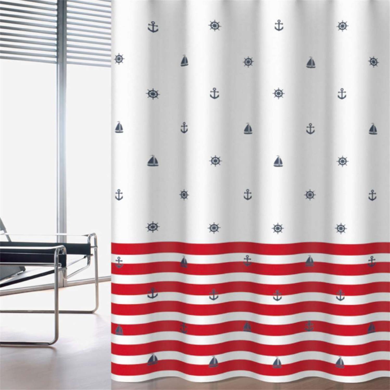 Κουρτίνα μπάνιου Navy υφασμάτινη κόκκινη 180x200cm Home Plus navy_red