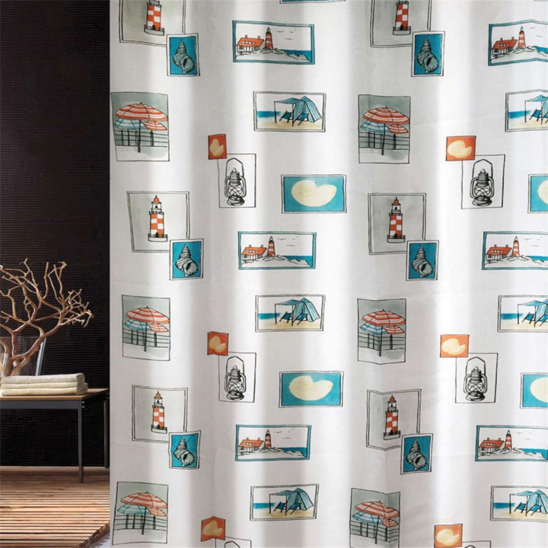 Κουρτίνα μπάνιου Seaside multi υφασμάτινη πολύχρωμη 180x200cm Home Plus seaside_multi