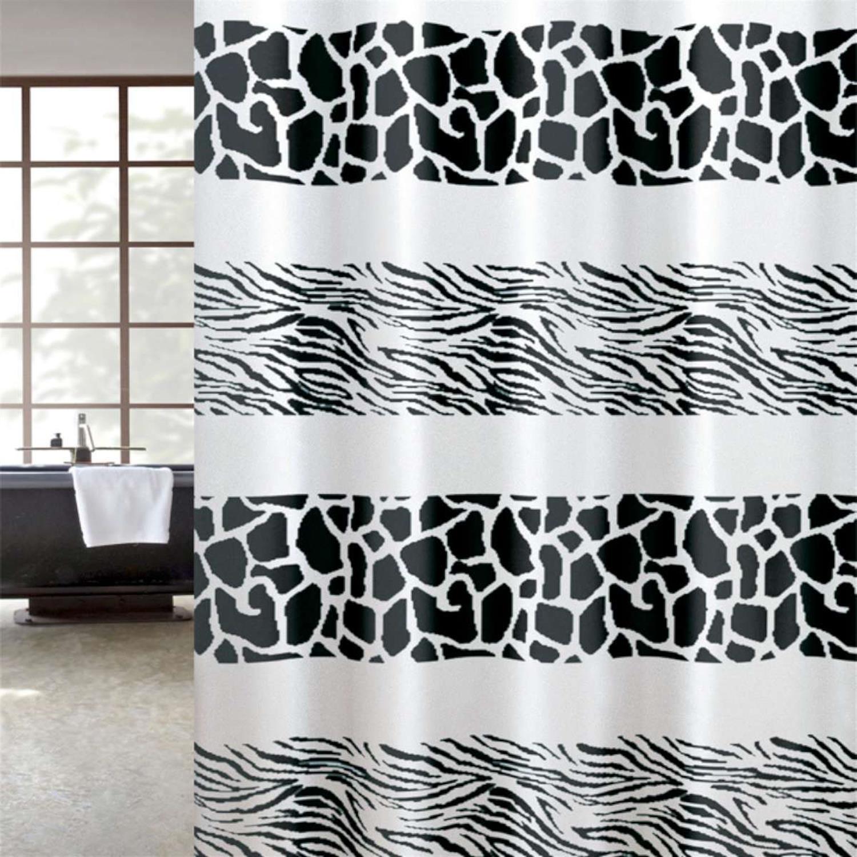Κουρτίνα μπάνιου Zebra υφασμάτινη μαύρη 180x200cm Home Plus zebra_black