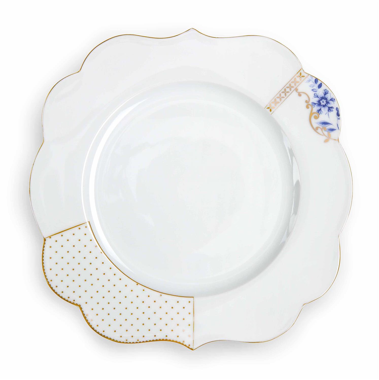 Πιάτο ρηχό Royal White πορσελάνινο λευκό/χρυσό/μπλε Δ-28cm Pip Studio 51001133
