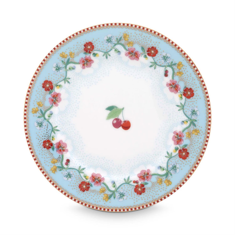 Πιάτο γλυκού Floral Cherry πορσελάνινο γαλάζιο Δ-17cm Pip Studio 51001171