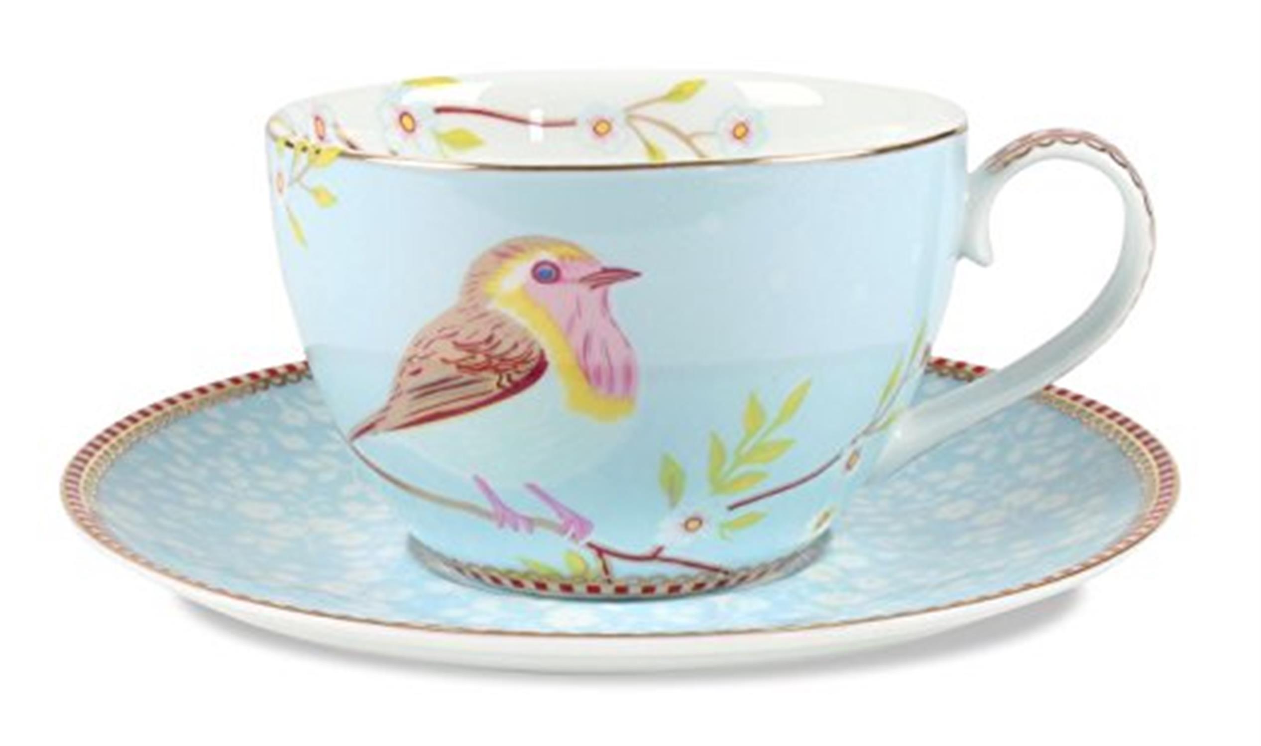 Φλιτζάνι καπουτσίνο με πιατάκι Floral 280ml πορσελάνινο γαλάζιο Pip Studio 51004002