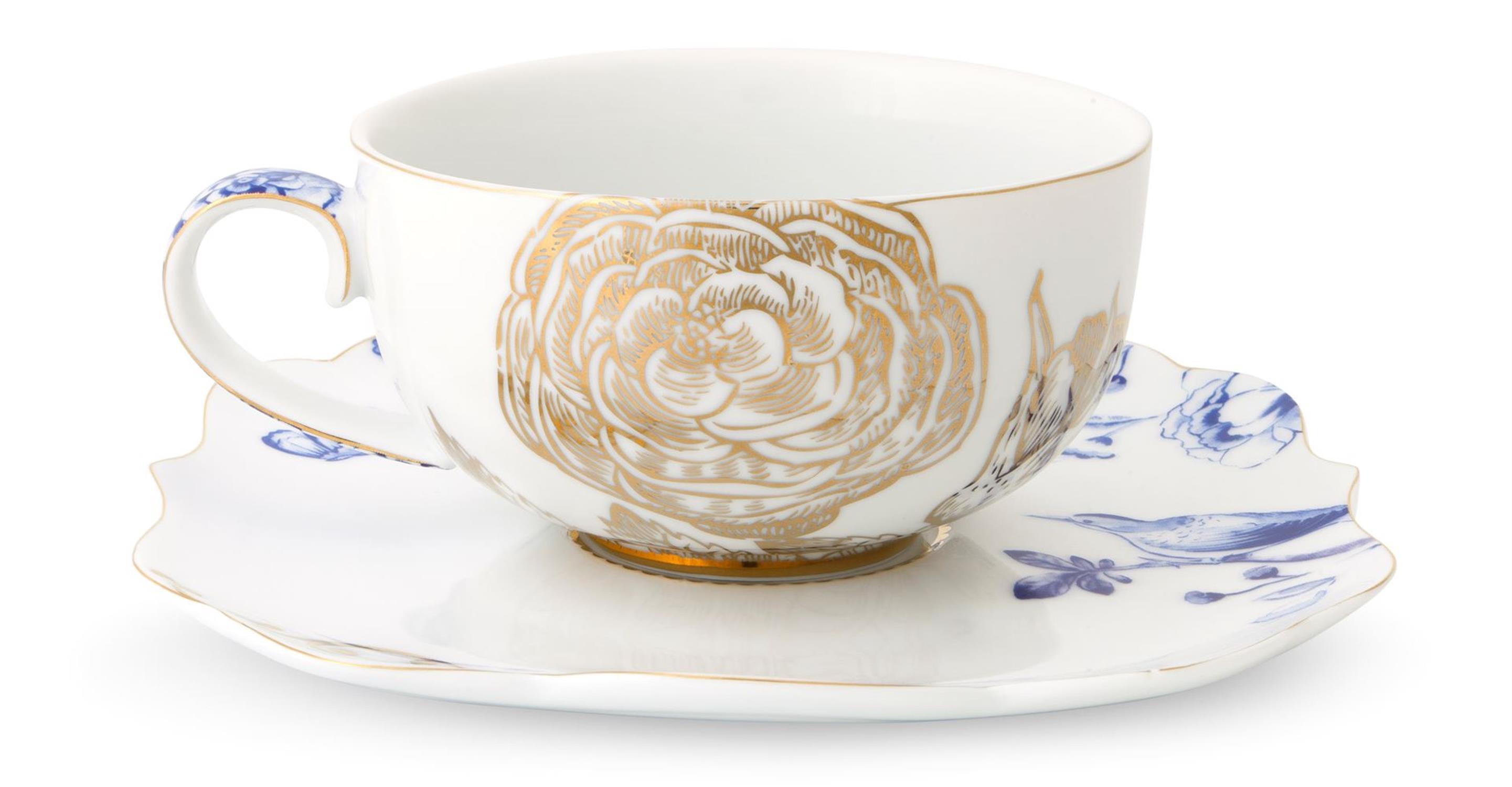 Φλιτζάνι με πιατάκι Royal White 225ml πορσελάνινο λευκό/χρυσό/μπλε Pip Studio 51004035