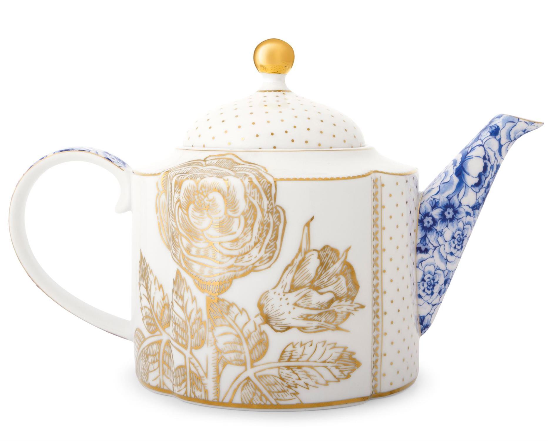 Τσαγιέρα Royal White 1650ml πορσελάνινη λευκή/χρυσή/μπλε Pip Studio 51005021