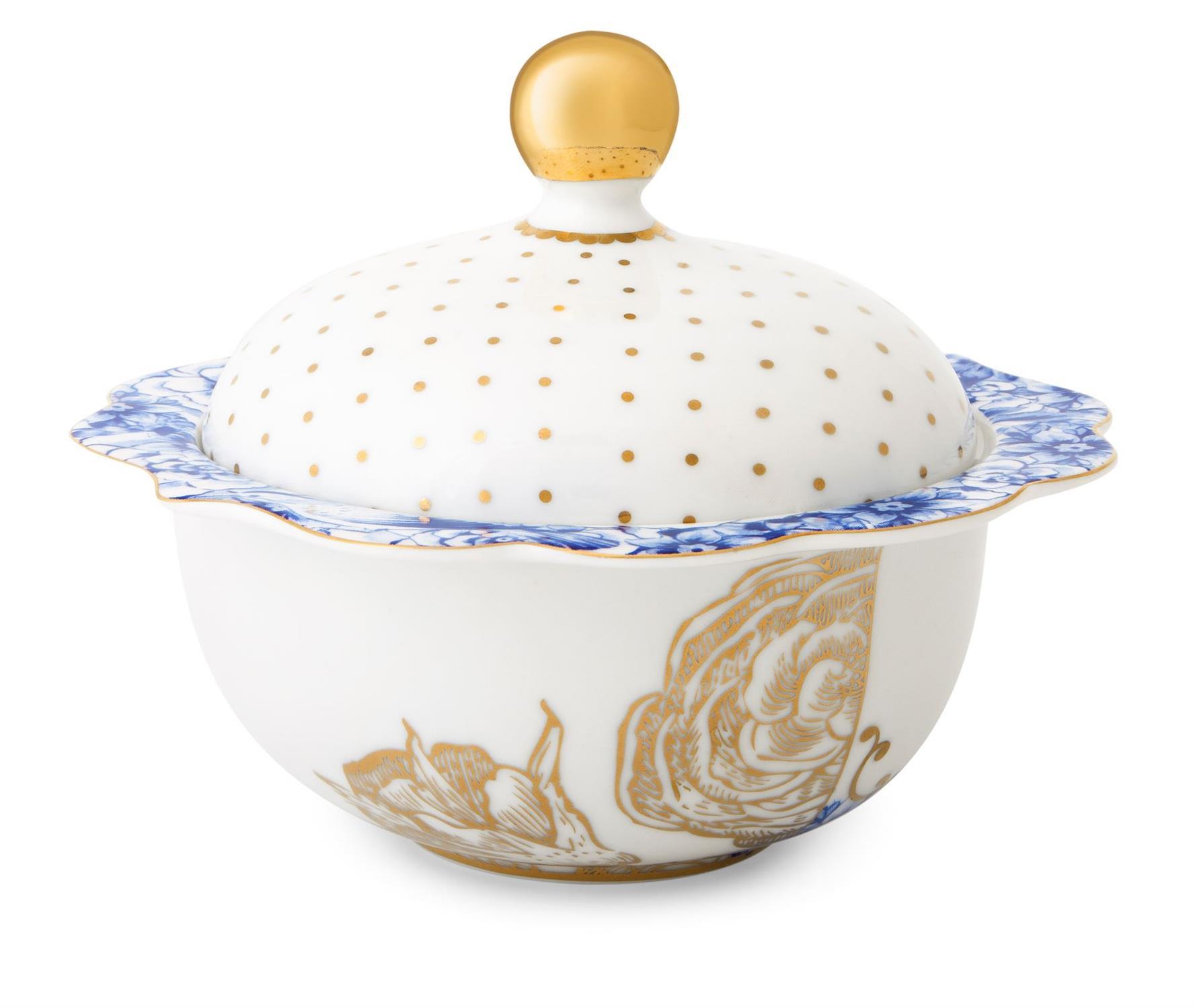 Ζαχαριέρα Royal White 235ml πορσελάνινη λευκή/χρυσή/μπλε Pip Studio 51008021