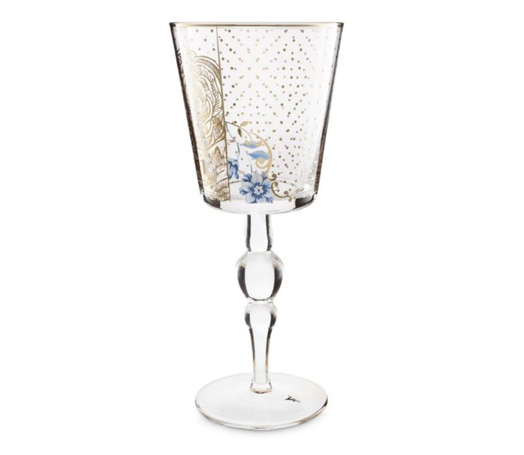 Ποτήρι κρασιού Royal Golden Flower 360ml γυάλινο διάφανο/χρυσό/μπλε Pip Studio 51131005