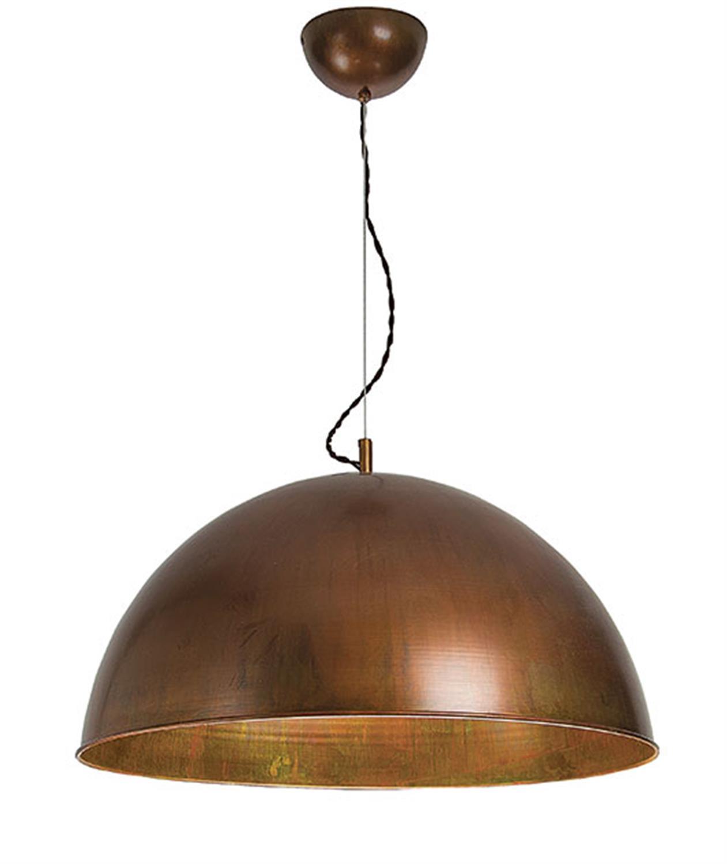 Φωτιστικό κρεμαστό μονόφωτο καμπάνα μεταλλικό σε απόχρωση του χαλκού Zambelis 16123