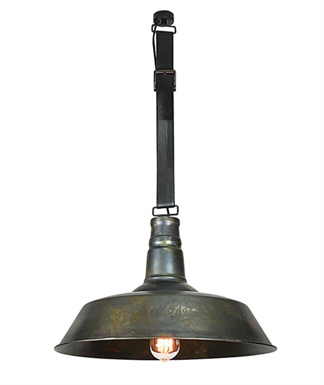 Φωτιστικό μονόφωτο κρεμαστό μεταλλικό με δερμάτινη ζώνη σε απόχρωση παλαιού σιδήρου Zambelis 16132