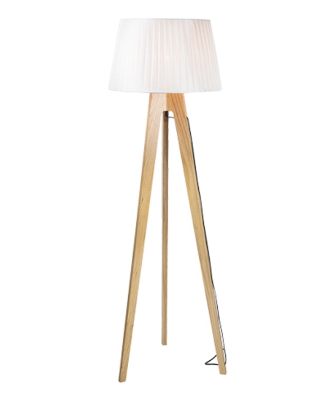 Φωτιστικό δαπέδου τρίποδο ξύλινο σε καφέ χρώμα με λευκό καπέλο Zambelis 16179
