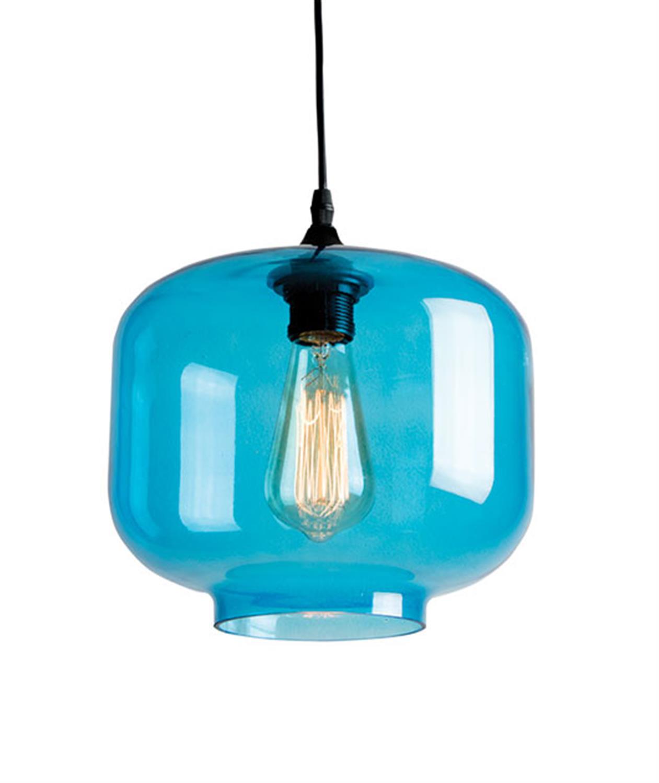 Κρεμαστό μονόφωτο φωτιστικό στρογγυλεμένο γυάλινο σε μπλε χρώμα Zambelis 1646