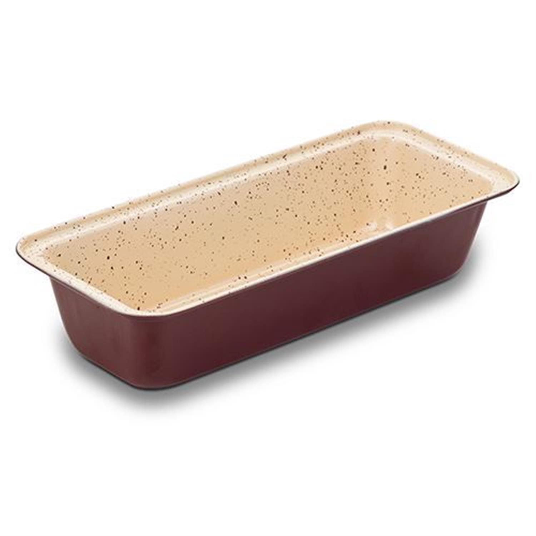 Φόρμα ψησίματος κέικ – ψωμιού Terrestrial ατσάλινη με αντικολλητική/κεραμική επίστρωση βυσσινί/μπεζ 33x14x7cm Nava 10-103-057