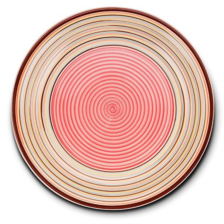 Πιάτο ρηχό stoneware ριγέ ροζ Δ27cm Nava 10-141-040