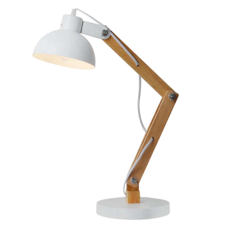 Φωτιστικό επιτραπέζιο λευκό μέταλλο και ξύλο 50cm Inlight 3451-W