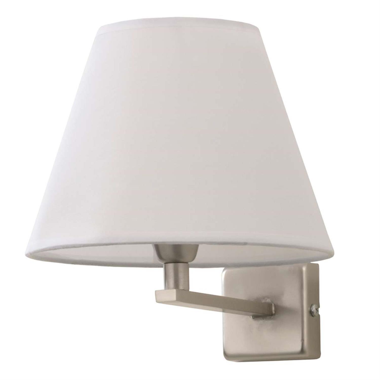 Απλίκα μονόφωτη νίκελ ματ με υφασμάτινο καπέλο 23x30cm Inlight 43365-NIKEL-MAT