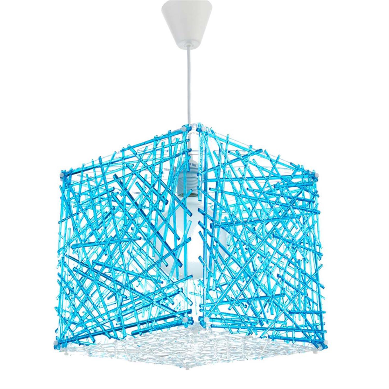 Φωτιστικό οροφής μονόφωτο κρεμαστό Κύβος plexiglass μπλε 30x30cm Inlight 4339-BLUE