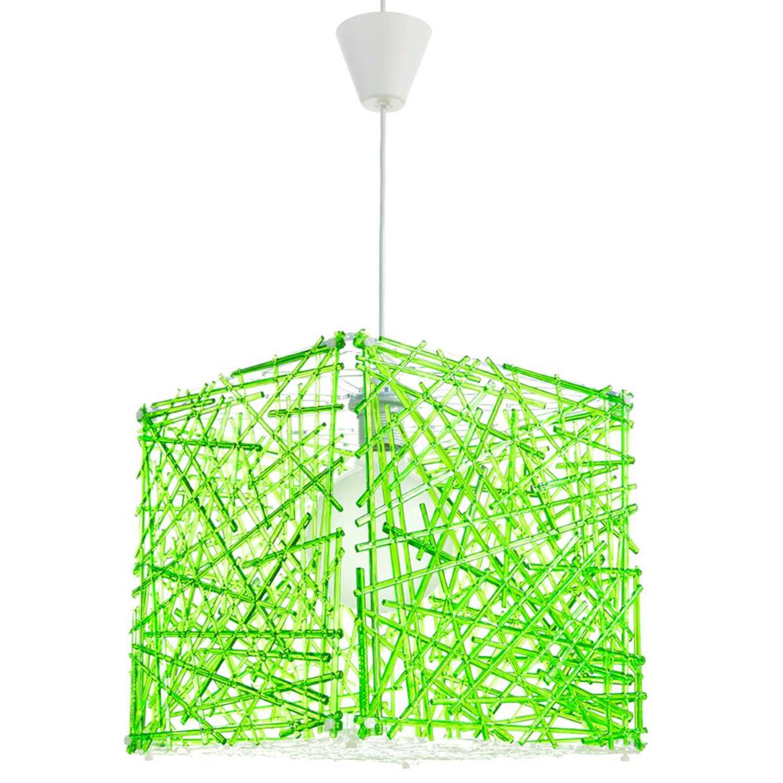 Φωτιστικό οροφής μονόφωτο κρεμαστό Κύβος plexiglass πράσινο 30x30cm Inlight 4339-GREEN